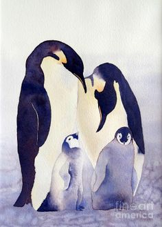 Penguin Family Painting by Laurel Best - Penguin Family Fine Art Prints and Posters for Sale