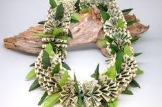50 One Dollar Bills Money Lei with Silk Maile Leaf by TheLeiStand Folding Money, Origami Folding, Money Lei, Money Origami, One Dollar, Dollar Bills, Creative Money Gifts, Creative Ideas, Money Flowers