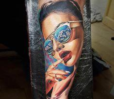Girl with Sunglass tattoo by Marek Hali