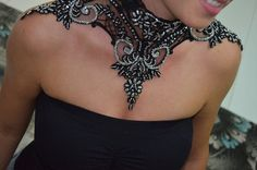 Victorian Formal Gothic Large Chocker silver Beaded Necklace Lace Jewelry Black Choker Lace collar Necklace Embroidered lace necklace