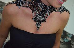 Lace Choker halloween collar Black Gothic Wedding Victorian Vampire Cabaret Goth Burlesque Evening Lolita halloween Cosplay Romantic