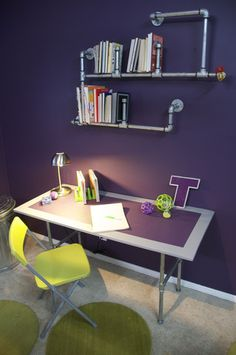 Galvanized Pipe Desk and Bookshelf   KENNETH WINGARD