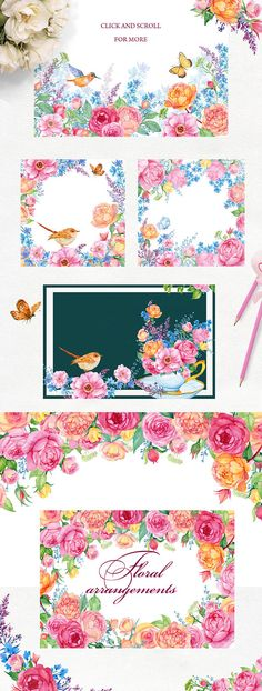 Romance. floral watercolor . Beautiful floral design of roses,birds ,butterflies, flower arrangements,bouquets,seamless patterns,floral backgrounds. • 91 PNG (elements flowers,2 birds,3 butterflies,jug,Cup,3 bird feathers) • 15 PNG flower arrangements • 7 PNG floral frame • 6 JPEG