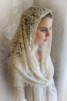 Evintage: Our Lady Ivory Lace Infinity Scarf  Chapel Veil
