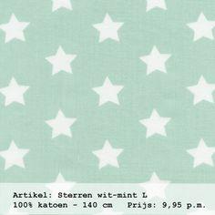Gordijnstof in de kleur mint met witte sterren. Uit de collectie 'stippen en sterren' van Boer&Bontig / www.boerenbontig.nl #gordijnen #babykamer #kinderkamer