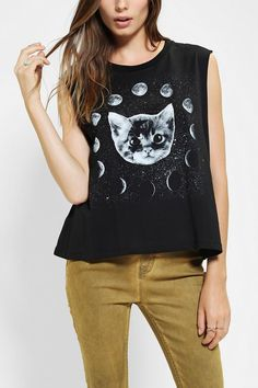 Five Crown Moon Cat Muscle Tee #urbanoutfitters #mystical #MOONCAT