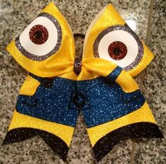 Bows by April - Minion Full Glitter Cheer Bow, $22.00 (http://www.bowsbyapril.com/minion-full-glitter-cheer-bow/)