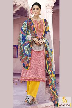 Get the perfect traditional diva look by wearing this excellent pink and yellow cotton printed salwar kameez. Adorned with patch embroidery and printed work.  #printedsaree, #dailywearsaree. #casualsaree, #onlinesarees, #fancyblouse, #pearchcolorsaree http://www.pavitraa.in/store/casual-saree/ Call Us : 917698234040