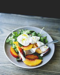 Burrata Salad With Stone Fruit, Mint, and Chilis #dishoftheday