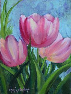 Tulipán rosa Floral de naturaleza muerta pintura rosa 9 x 12