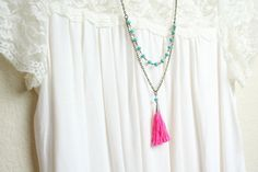 A personal favorite from my Etsy shop https://www.etsy.com/listing/243358480/pink-and-turquoise-tassel-necklace