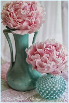 Aiken House & Gardens - Vintage McCoy & Hobnail Vases with Peonies...Love McCoy and love the colors!