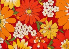 Vintage 1970s Colourful Orange And Red Flower Print Fabric