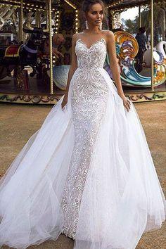 Elegant Tulle And Lace Bateau Neckline Full-length Wedding Dresses White Lace Wedding Dress, African Wedding Dress, Sexy Wedding Dresses, Elegant Wedding Dress, Wedding Bridesmaid Dresses, Prom Dresses, Dress Prom, Sequin Wedding, Bouquet Wedding
