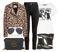 """""""Prints & Texts"""" by monmondefou ❤ liked on Polyvore featuring Topshop, Balenciaga, Tory Burch, Quay, Joanna Laura Constantine, black and leopard"""