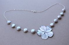 Carved Iridescent Shell Plumeria Necklace by fortheloveofplumeria, $45.00
