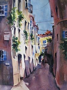 "Rue de May-St. Paul de Vence by Jinnie May Watercolor ~ 30"" x 22"""