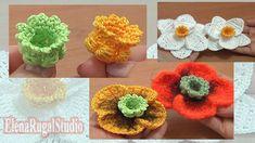 Crochet Poppy, Crochet Flowers, Crochet Motif Patterns, Flower Patterns, Thread Crochet, Crochet Hooks, Fuchsia Flower, Creative Food Art, Crochet Flower Tutorial