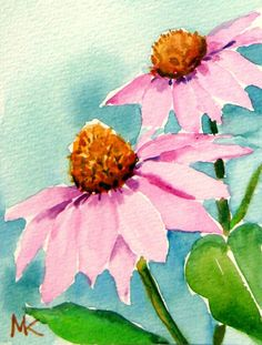 Summer Cone Flower  ACEO Art Card ORIGINAL  Watercolor /Signed by M.Kilic #Miniature