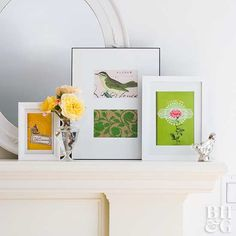 Not all art must be purchased. Keep an eye out for pretty pictures and patterns in magazines and mailings. Cut to size and frame. Group several frames on a mantel for an eye-catching display.