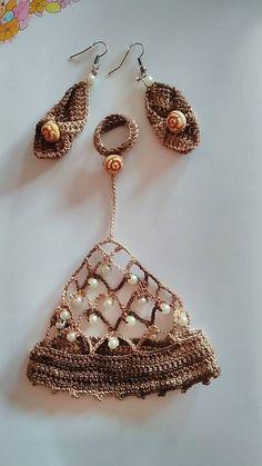 Silviatetetami / Háčkovaný náramok na ruku + náušnice Crochet Earrings, Jewelry, Fashion, Jewellery Making, Moda, Jewelery, Jewlery, Fasion, Jewels