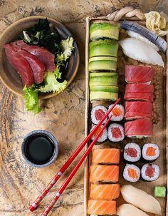 - Sushi set nigiri, sashimi and rolls on clay plate served with chopsticks and soy sauce on stone surface.Set - Sushi set nigiri, sashimi and rolls on clay plate served with chopsticks and soy sauce on stone surface. Sushi Recipes, Asian Recipes, Cooking Recipes, Healthy Recipes, Appetizer Recipes, Sushi Comida, Sushi Food, Vegan Sushi, Sushi Set