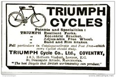 Original - Anzeige / Advertise 1903 : (ENGLISH) TRIUMPH CYLES / LONDON  - ca 55 x 40 mm