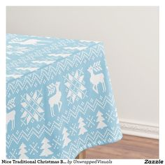 Nice Traditional Christmas Blue Sweater Pattern Tablecloth