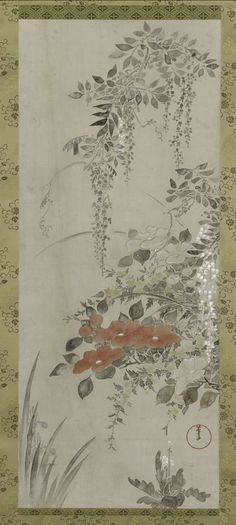 Wisteria and Other Flowers TYPE Hanging scroll MAKER(S) Artist: Fuka'e Roshu (1699-1757)