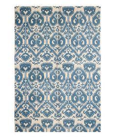 Love this Ivory & Blue Arabesque Wool Rug on #zulily! #zulilyfinds
