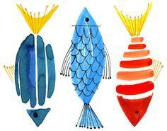 Research for fish ideas: Margaret Berg : fish / nautical Watercolor Fish, Watercolor Cards, Watercolor Paintings, Fish Paintings, Seascape Paintings, Watercolor Animals, Watercolors, Pinterest Pinturas, Fish Design