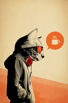 The Morning After by Hidden Moves - Available at EyesOnWalls.com http://www.eyesonwalls.com/collections/fine-art-prints #hiddenmoves #hiddenmovesart #fineart #graphicdesign #design #artprints #fineartprints #wallart #cat #coffee #ineedcoffee #morningafter #themorningafter