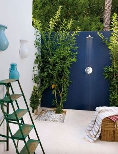 outdoor shower with beautiful blues