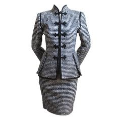 EMANUEL UNGARO black & white houndstooth suit with frog clousre | From a collection of rare vintage suits, outfits and ensembles at https://www.1stdibs.com/fashion/clothing/suits-outfits-ensembles/