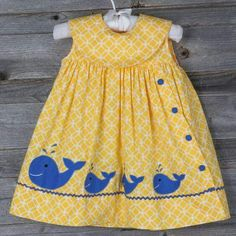 "Ropa Niños ""Yellow Whale Collared Jumper idea so cute"", ""Whale Applique Inspiration :) I like the ric rac ribbon waves."", ""I could live without the w Frocks For Girls, Little Dresses, Little Girl Dresses, Toddler Dress, Toddler Outfits, Kids Outfits, Infant Toddler, Toddler Girls, Baby Frocks Designs"