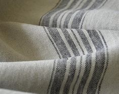 Farmhouse Fabric By Yard Grain Sack Continuous Cut Upholstery Weight Feedsack Striped Blue or Red or Tan Ticking Fabric 54 inches wide Lino Natural, Natural Linen, Ticking Fabric, Linen Fabric, Striped Fabrics, Striped Linen, Kids Crafts, Swatch, Farmhouse Fabric