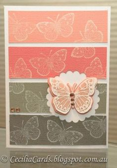 Hero Arts: Butterfly from the Antique Flowers and Butterflies stamp and frame cut set.