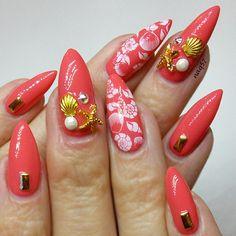 sea shells and stars nail art design 7/9/2015