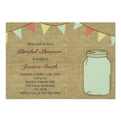 country rustic mason jar bridal shower invitations This site is will advise you where to buyHow tolowest price Fast Shipping and save your money Now! Wedding Shower Invitations, Elegant Invitations, Vintage Bridal, Vintage Gifts, Rustic Mason Jars, Special Day, Getting Married, Rsvp, Party