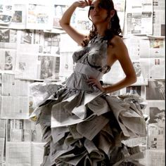 Dress made of newspaper. Recycling at its best.