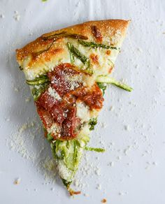 Pizza night inspiration: asparagus ribbon and whipped ricotta.