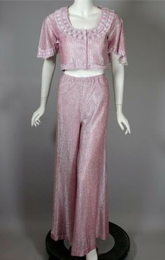 SOLD 70s wide leg pant crop top vintage 1970s hostess outfit 2 piece from Viva Vintage Clothing