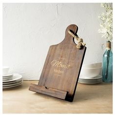Women's Cathy's Concepts 'Mother's Day' Wooden Tablet/book Stand (4.295 RUB) ❤ liked on Polyvore featuring home, kitchen & dining, kitchen gadgets & tools and brown
