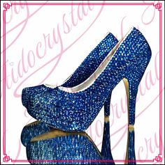 178.00$  Watch here - http://aliuhq.worldwells.pw/go.php?t=32778878041 - Aidocrystal handmade crystal stiletto wedding shoes royal blue middle heel women shoes free shipping