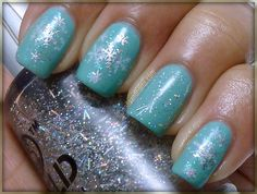Tiffany blue turquoise, snowflakes, and glitter. perfect snowy day mani.