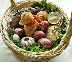 Polish Easter basket. These are taken to the Catholic church during Holy Week to be blessed by the priest. The items become part of the special Easter Sunday meal.