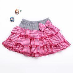 Новый 2015 девочку хлопок плед юбка детская 2-8У 11 цветов для детей лук казуальных мини-юбка милые девушки весна/лето юбки