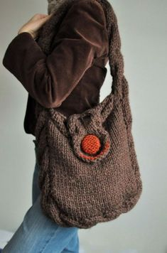 Hand knit cable shoulder bag messenger tote crossbody school bag with contrasting button - Soul of a Vagabond in brown or CHOOSE YOUR COLORS Bag Crochet, Crochet Purses, Knit Bag, Knitting Projects, Crochet Projects, Knit Basket, Creation Couture, Knitted Bags, Handmade Bags