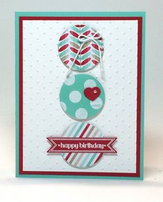 birthday card from Julie - stampin up occasions catalog 2014, fresh prints designer paper