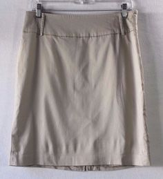 Apostrophe Stretch Beige Knee Length Casual Career Straight Pencil Skirt-Size 10…